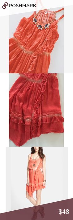 """• Free People • Orange • Tie-dye • Elastic waistband • Ruffle hem • """"Aphrodite"""" style • Excellent condition • NO TRADES/HOLDS • All reasonable offers accepted • Free People Dresses"""