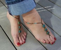 Skies of Blue Hippie Inspired Foot Jewelry by Beach Foot Jewelry