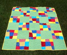 Brightly colored quilt, wonky 9 patch. Creative ideas for you: Free Quilt Patterns