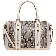 Michael Michael Kors Large Embossed Julia Satchel ($500) ❤ liked on Polyvore featuring bags, handbags, ecru, satchel handbags, python purse, satchel crossbody, snake print handbag and crossbody satchel