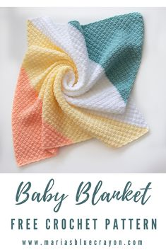 This baby crochet blanket is made in a corner to corner fashion with no holes or gaps. In the free pattern, there are also instructions on how to make it larger and in a rectangular or square shape. C2c Crochet, Manta Crochet, Crochet Afghans, Afghan Crochet Patterns, Baby Blanket Crochet, Crochet Crafts, Baby Patterns, Crochet Stitches, Crochet Baby
