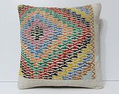 embroidered pillow bright pillow cover geometric pillow case cotton pillow case handmade cushion kilim cushion cover kilim pillow sham 18483