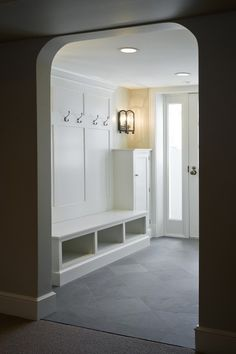Rustic Mudroom Built Ins - Design photos, ideas and inspiration. Amazing gallery of interior design and decorating ideas of Rustic Mudroom Built Ins in laundry/mudrooms by elite interior designers. Mudroom Laundry Room, Mudroom Cubbies, Mudroom Cabinets, Bench Mudroom, Entry Bench, Hall Bench, Bench Storage, Shoe Storage, Slate Flooring