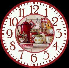 Clock Art, Diy Clock, Clock Decor, Decoupage Vintage, Decoupage Paper, Clock Face Printable, Clock Template, Handmade Clocks, Cross Paintings