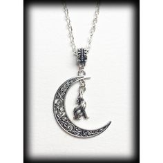 Crescent Moon Necklace with Howling Wolf Antique Silver Filigree-... (13 AUD) ❤ liked on Polyvore featuring jewelry, necklaces, chain necklace, pendant chain necklace, wolf pendant, filigree pendant and gothic jewelry