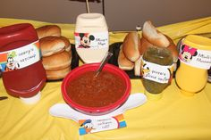 Hot Diggity Dog bar condiments-Mickey Mouse Clubhouse birthday party-If you love #Disney like me, please follow me!  I plan Disney courtney@travelwiththemagic.com