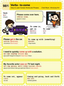 Easy to Learn Korean 981 - Basic verbs - to come. Chad Meyer and Moon-Jung Kim EasytoLearnKorean.com An Illustrated Guide to Korean