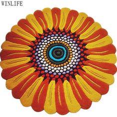 WINLIFE Designer Sunflower Shaped Rug Colorful Kids Rugs For Living Room Round Bedroom Carpet