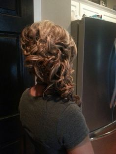 Fun side updo for medium length hair. Hair by Casey