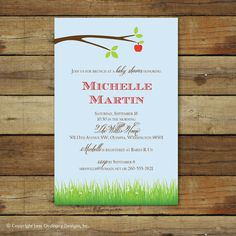 apple theme baby shower invitation for baby by saralukecreative, $15.00