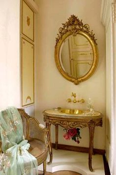 A romantic and decadent setting is evocative of Madame de Pompadour's boudoir, this one of a kind property in a century building overlooks the beau. Romantic Bathrooms, Bathing Beauties, Shabby Vintage, Vanity, Mirror, House, Furniture, Home Decor, Dressing Tables