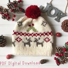 Mistletoe Kisses Beanie PDF DIGITAL DOWNLOAD Crochet pattern, Fair isle crochet hat pattern, christmas hat, reindeer winter hat pattern ***This listing is for a PDF pattern ONLY. This is NOT A FINISHED PRODUCT.*** This hat fits the average adult females head. This pattern is written