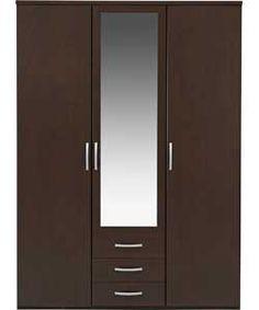 220 / Hallingford 3 Door 3 Drawer Mirrored Wardrobe - Wenge Effect