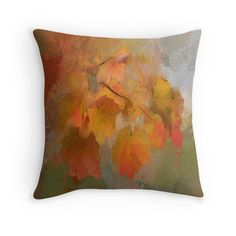 'Leaves' Throw Pillow by umumar Framed Prints, Canvas Prints, Art Prints, Iphone Wallet, Art Boards, Duvet Covers, Leaves, Throw Pillows, Painting
