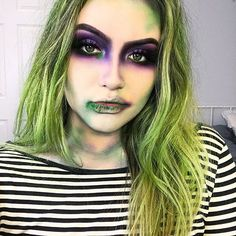 """I attended Juilliard. I'm a graduate of Harvard Business School. I travel extensively. I lived through the Black Plague."" Did you even do Halloween makeup if you didn't do beetlejuice halloween makeup? Eyeshadow: @morphebrushes 35b and 35c pallets Face: @toofaced peach perfect foundation with a very very light @maybelline fit me pressed powder on top Brows: @anastasiabeverlyhills dip brow in ebony Green liner: @suvabeauty hydra liner in fanny pack Lashes: @kokolashes in Venu..."