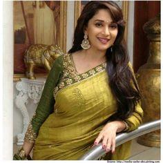 Bollywood Sarees: Madhuri Dixit in Yellow Green Designer Saree-Sarees-Metroz