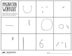 """Imagination Workout Printable - Use imagination to create a picture out of the shapes and abstract lines. Students will learn to make something beautiful out of """"mistakes"""""""