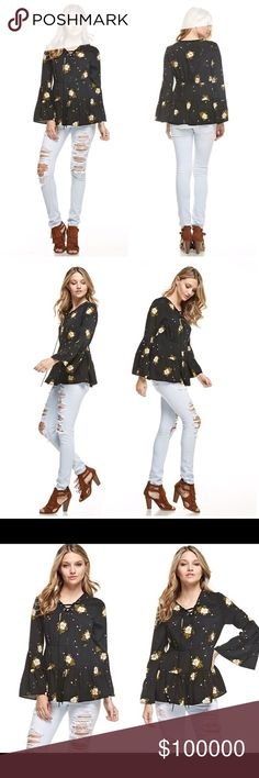 Flowy peplum tie front-blouse!  LAST ONE Floral, long bell sleeve peasant top with tie up v-neck Tops Blouses