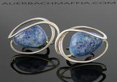 Elsa Freund Modernist Sterling Ceramic Earrings