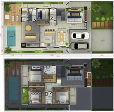 Small Apartment Living, Small Apartments, Casas The Sims Freeplay, Loft House, House Plans, Floor Plans, Restaurant, Flooring, How To Plan
