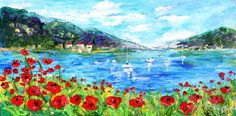 Original oil painting Sailing Poppy Fields by Karensfineart