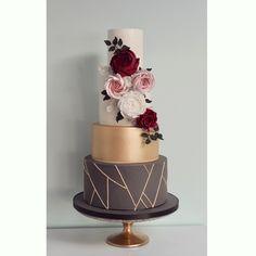 Slate grey, gold geometric and burgundy Wedding Cake by Wish Upon a Cupcake