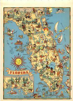 Florida Cartoon Map // The Sunshine State // Original Vintage Ruth Taylor White Map Florida State Map, Old Florida, Vintage Florida, Florida Travel, Florida Maps, Florida Style, Florida Girl, Florida Usa, South Florida