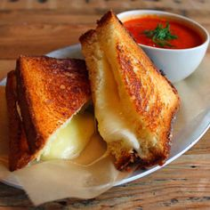 Classic Grilled Cheese: Brioche with cheddar and mozzarella, served with a cup of tomato soup. Grilled Cheese With Tomato, Perfect Grilled Cheese, Grilled Cheeses, Braces Food, Shallot Recipes, Food Porn, Tomato Soup, Tomato Bisque, Tomato Basil