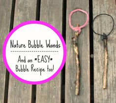 Diy bubble wands from your backyard- and an easy bubble recipe too! Nature Crafts, Fun Crafts, Crafts For Kids, Backyard Play Spaces, Summer Fun, Summer Ideas, Summer Time, Bubble Recipe, Bubble Wands