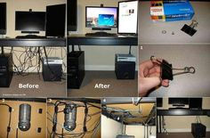 CABLES & CORDS :: Cable Management on the cheap! How to hide cords on open desks. This is awesome! Get that power strip off the floor! Hidden Desk, Ideas Para Organizar, Cable Organizer, Cable Management, Office Organization, Network Organization, Home Hacks, Getting Organized, Home Interior Design