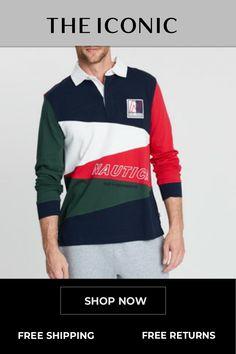 68afa3d23c7 Long Sleeve Diagonal Pieced Rugby Polo