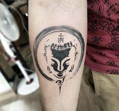 Devil z tattooz gurgaon on minimal buddha tattoo with enso done at devilztattooz delhi s oldest tattoo studio since 2003 devilztattooz wheredelhigetstattooed trendy tattoo lotus buddha om symbol ideas tattoo Buddha Tattoo Design, Shiva Tattoo Design, Buda Tattoo, Tattoo Sleeve Designs, Tattoo Designs Men, Sleeve Tattoos, Tattoo Studio, Hindu Tattoos, Buddhist Tattoos