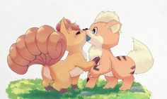 Vulpix and Growlithe Playing - looks like me n my babe!