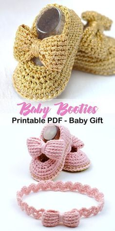 Make a cute pair of baby booties and a headband. Favorite Baby Shoes Crochet Patterns - Adorable - A More Crafty Life #crochet #crochetpattern #baby #affiliate