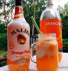 2 oz. Malibu Orange Float 2 oz. Orange Soda 2 large scoops of Vanilla ice cream