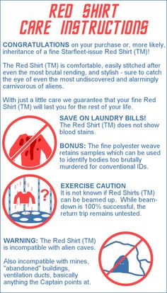 StarTrek: Red Shirt Care Instructions