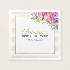 Pink & Faux Foil Gold Floral Bridal Shower Napkin - kitchen gifts diy ideas decor special unique individual customized