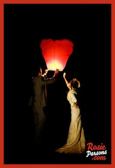 heart shaped floating paper lantern in red for weddings