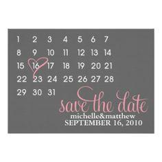 Calendar Save the Date Wedding Announcements