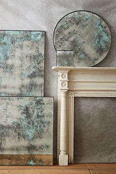 Color-Washed Mirror Art and mirror combined, I like that this would give a sense of more space/light while also being intriguing and beautiful. Mirror Painting, Mirror Art, Diy Mirror, Mirror Glass, Mirror Makeover, Mirror Ideas, Sunburst Mirror, Distressed Mirror, Antiqued Mirror