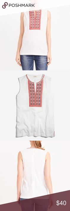 NWT J. Crew Embroidered Tank Small ❤️ New with tags! J. Crew embroidered tank top, size Small. Colors are navy, red, and white. V-neck style. 100% Cotton. Slightly loose fit. Machine wash. From a smoke free home. J. Crew Tops Tank Tops