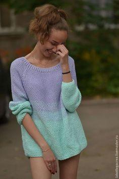 Вязаный свитер грубой вязки La perla сotton. Handmade.
