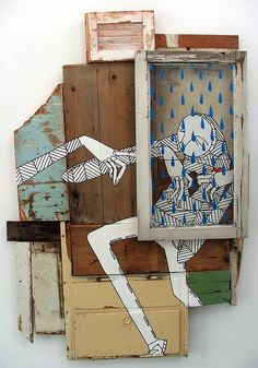 The-Times-Wont-Save-You - yr.-Embracing-of-Them-Will-Know-Hope Art And Illustration, Art Altéré, Art Quotidien, Art Du Collage, Cardboard Art, Found Object Art, Art Sculpture, Inspiration Art, Assemblage Art