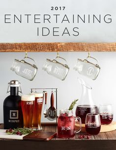Elevate your entertaining with these 2017 entertaining ideas. From personalized pilsner glasses to etched decanters, impress your guests with the finest glassware. | Shutterfly