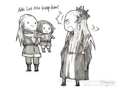 Legolas, little Aragorn and Thranduil -- Леголас, маленький Арагорн и Трандуил