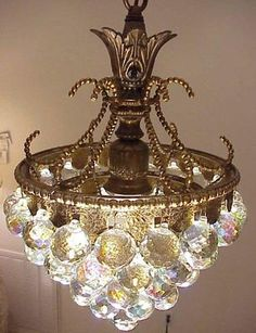 ANTIQUE AURORA BOREALIS CHANDELIER ONE LIGHT