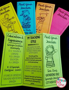 Meet Your Teacher Brochure ENGLISH (*EDITABLE*) Impress parents and students with this eye-catching Meet Your Teacher brochure IN ENGLISH. These are great for Meet the Teacher Night, Open House, or the first day of school.