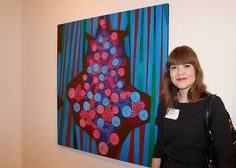 Modern Art Museum Curator Jill Dawsey With Birth Painting by Contemporary Artist Victor Angelo