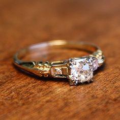 Melora Diamond Vintage Engagement Ring circa 1950 | Vintage Engagement Rings | Turtle Love Co. Jewelry