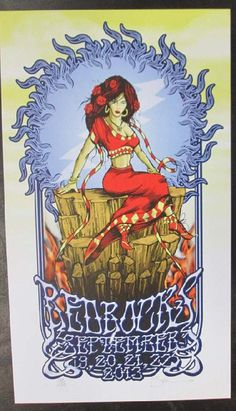 Original concert poster for Furthur at Red Rocks in Morrison, CO in 2013.  12 x 21 inches card stock. Artist Mark Serlo.